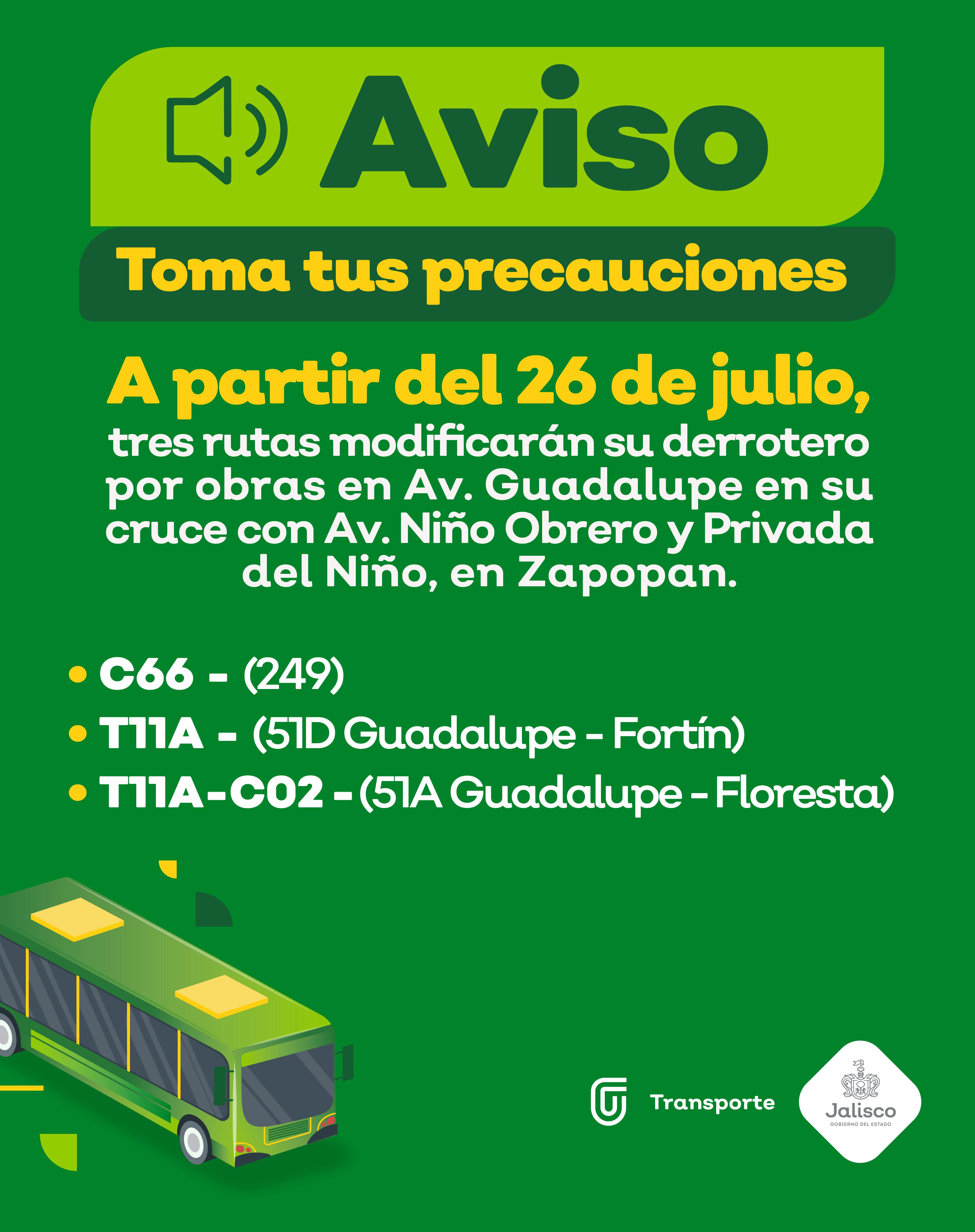 Tres rutas modificarán su derrotero por obras en Avenida Guadalupe, en Zapopan