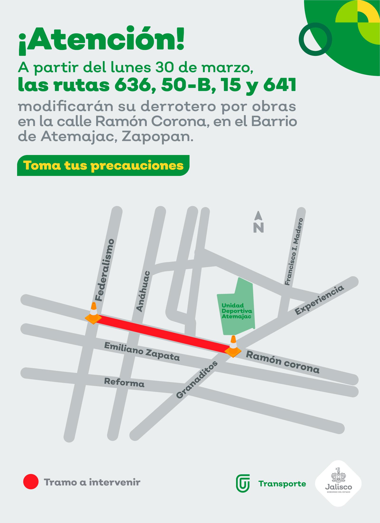 Cuatro rutas del transporte público modificarán su derrotero por obra en la calle Ramón Corona de Zapopan