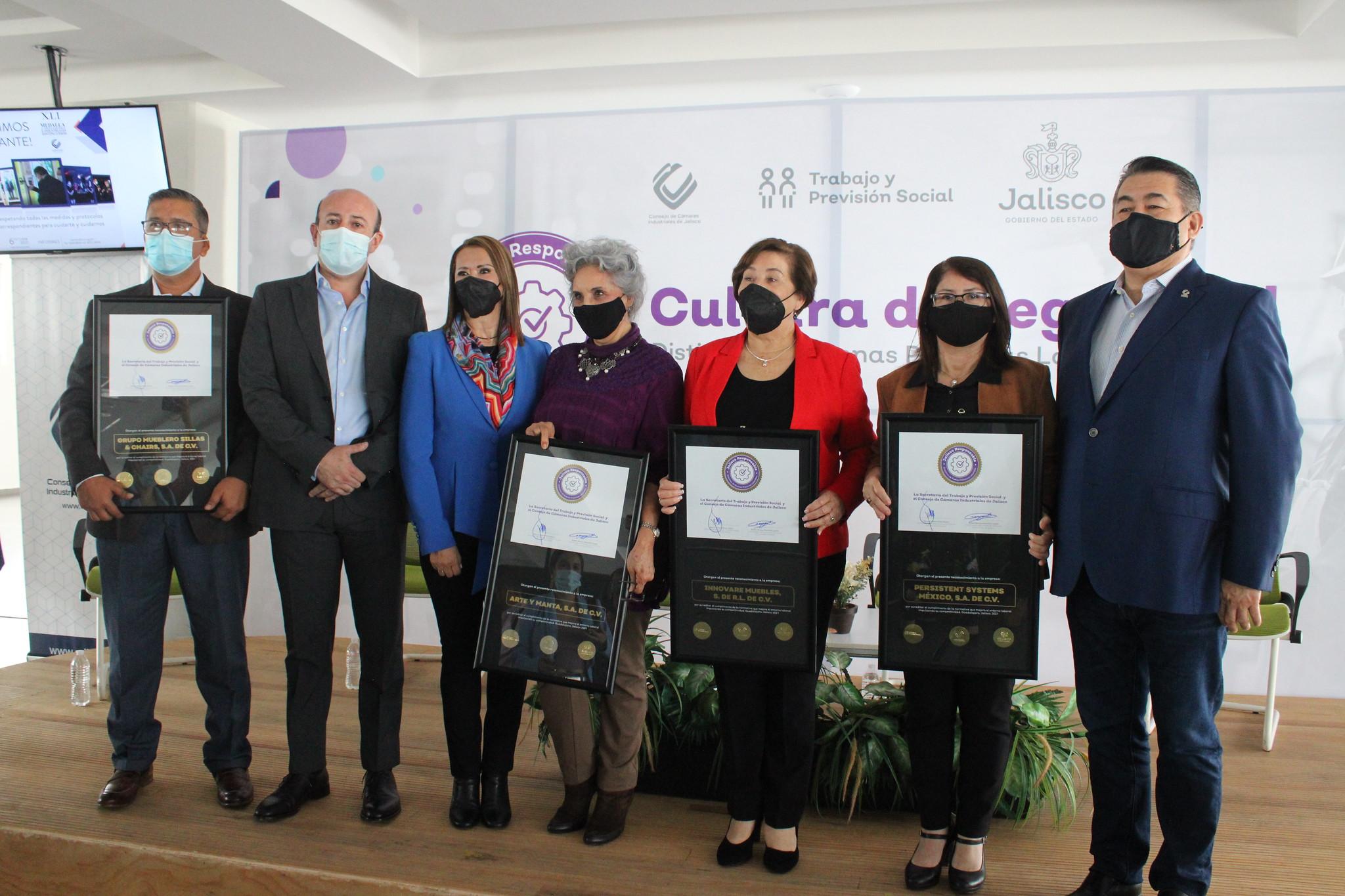 Se reconoce a 27 empresas con  el Distintivo Jalisco Responsable de buenas prácticas laborales