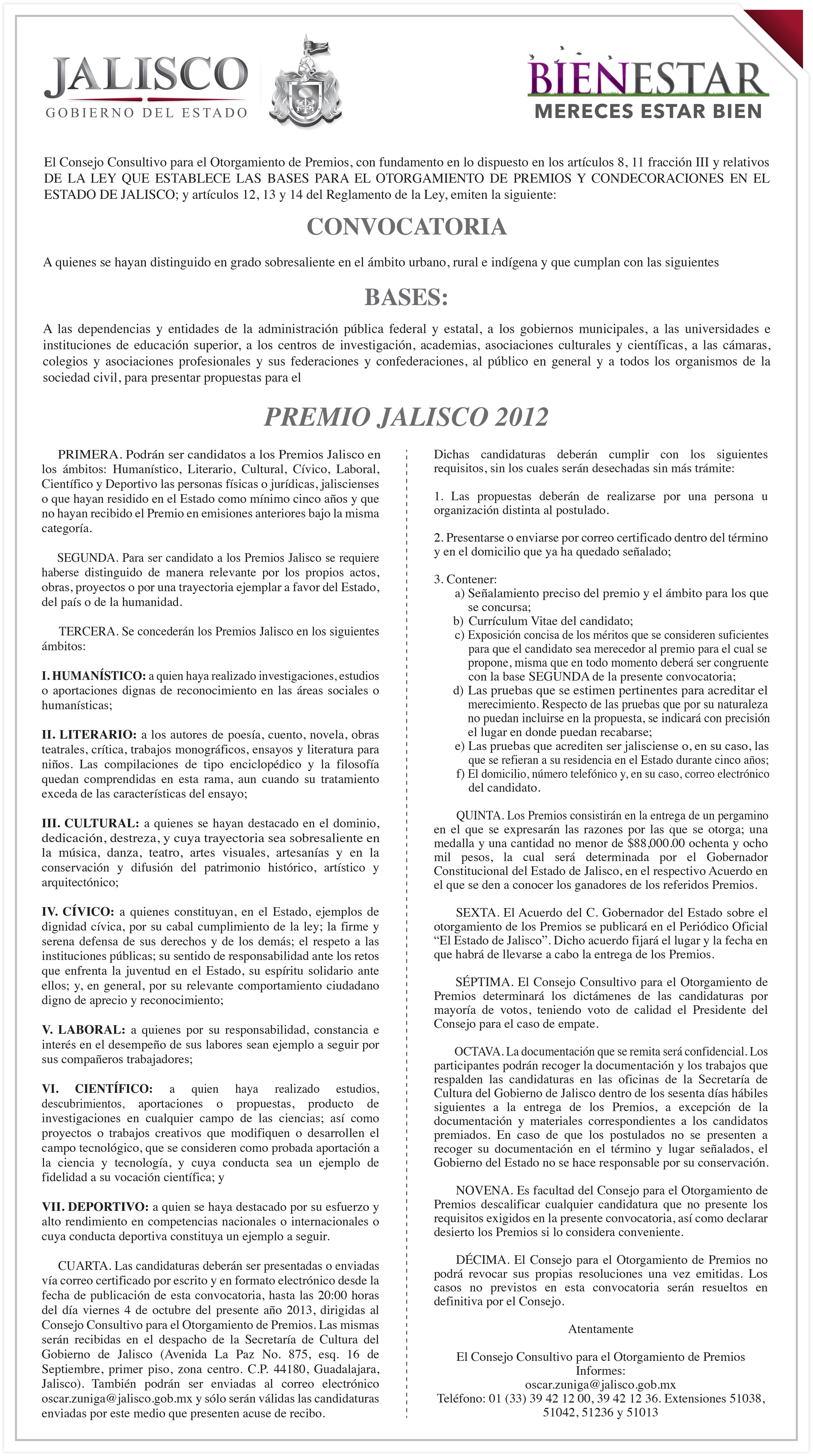 Lanza SC convocatoria del Premio Jalisco 2012
