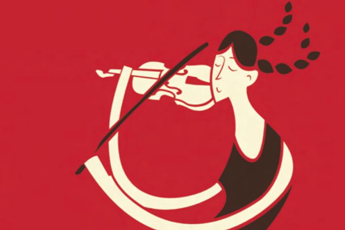 Imagen caricaturizada de una mujer tocando el violín.